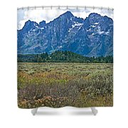 Teton Peaks And Flatland Near Jenny Lake In Grand Teton National Park-wyoming Shower Curtain