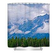 Teton Peaks Through Clouds In Grand Teton National Park-wyoming   Shower Curtain