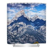 Teton Range And Two Trees Shower Curtain