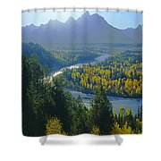 2m9301-teton Range From Snake River Overlook Shower Curtain