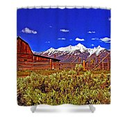 Tetons - Gambrel Barn And Fence Panorama Shower Curtain