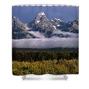 1m9396-tetons Above Fog, Wy Shower Curtain