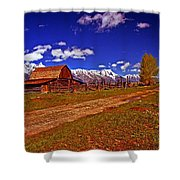 Tetons And Gambrel Barn Perspective Shower Curtain