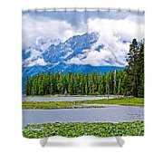 Tetons From Heron Pond In Grand Teton National Park-wyoming Shower Curtain