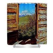 Tetons Through Log House Window Shower Curtain