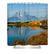Tetons With Moose Shower Curtain