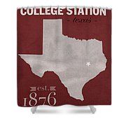 Texas A And M University Aggies College Station College Town State Map Poster Series No 106 Shower Curtain