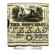 Texas Banknote, 1840 Shower Curtain