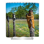 Texas Boot Fence Shower Curtain