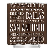 Texas Cities On Brown Shower Curtain