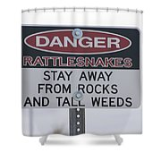 Texas Danger Rattle Snakes Signage Shower Curtain