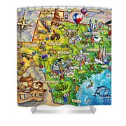 Texas Illustrated Map Shower Curtain