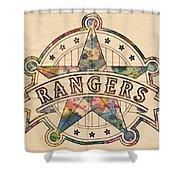 Texas Rangers Poster Art Shower Curtain