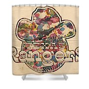 Texas Rangers Vintage Art Shower Curtain