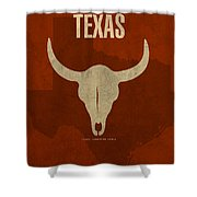 Texas State Facts Minimalist Movie Poster Art  Shower Curtain