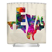 Texas Typographic Watercolor Flag Shower Curtain