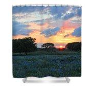 Texas Wildflower Sunset  Shower Curtain