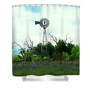 Texas Windmill And Bluebonnets Shower Curtain