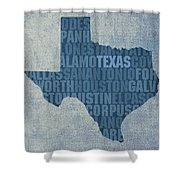 Texas Word Art State Map On Canvas Shower Curtain