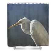 Textured Great Egret Shower Curtain