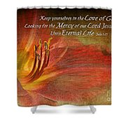 Textured Red Daylily With Verse Shower Curtain
