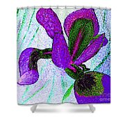 Textured Wild Purple Iris Shower Curtain