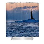Thacher Island Lighthouse Seagull Passes Shower Curtain