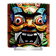 Thai Buddhist Mask Shower Curtain