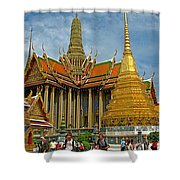 Thai-khmer Pagoda And Golden Chedis At Grand Palace Of Thailand  Shower Curtain