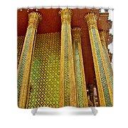 Thai-kmer Pagoda Columns At Grand Palace Of Thailand In Bangkok Shower Curtain