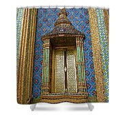 Thai-kmer Pagoda Window At Grand Palace Of Thailand In Bangkok Shower Curtain