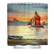 Thames Barge At Maldon Essex Shower Curtain
