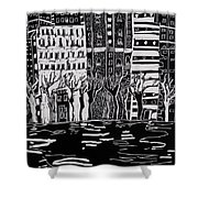 Thames In Winter Shower Curtain by Hilary Rosen