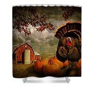 Thanksgiving Turkey Among Pumkins Shower Curtain