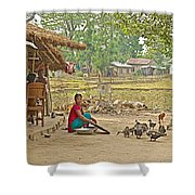 Tharu Farming Village Landscape-nepal Shower Curtain
