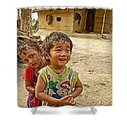 Tharu Village Children Love To Greet Us-nepal- Shower Curtain