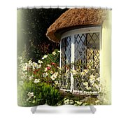 Thatched Cottage Window Shower Curtain