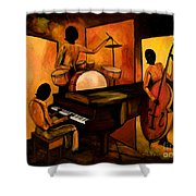 The 1st Jazz Trio Shower Curtain by Larry Martin