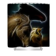 The 3 Shadow Horses Shower Curtain