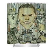 The 44th President And The Media Shower Curtain