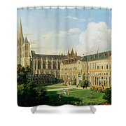 The Abbey Church Of Saint-denis And The School Of The Legion Of Honour In 1840 Oil On Canvas Shower Curtain
