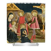 The Adoration Of The Kings And Christ On The Cross Shower Curtain