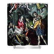 The Adoration Of The Shepherds From The Santo Domingo El Antiguo Altarpiece Shower Curtain