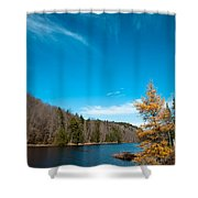 The Alpine Larch Tree On Bald Mountain Pond Shower Curtain