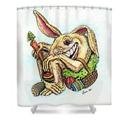 The Altered Easter Bunny Shower Curtain