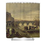 The Ambulance De La Presse At Joinville During The Siege Of Paris Oil On Canvas Shower Curtain