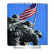 The American Flag Atop Mount Suribachi -- The Iwo Jima Memorial Shower Curtain
