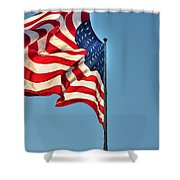 The American Flag No Retreat No Surrender  Shower Curtain