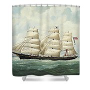 The American Ship Olive S Southard Of San Francisco In French Waters Off Le Havre Shower Curtain