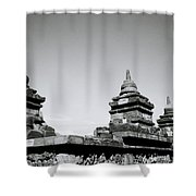 The Ancient Stupas Of Borobudur Shower Curtain